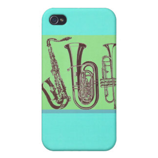 Jazz_Sax_Tuba_Trumpet iPhone 4 Cases