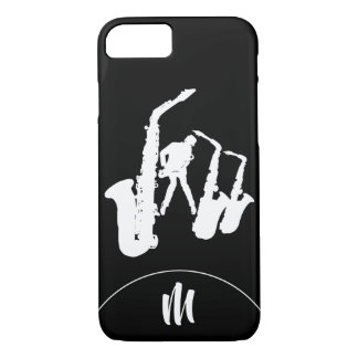 Jazz Sax White Saxophonist 2 Monogram Iphone Case