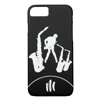 Jazz Sax White Saxophonist Monogram B2 iPhone Case