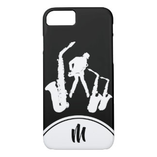 Jazz Sax White Saxophonist Monogram B iPhone Case