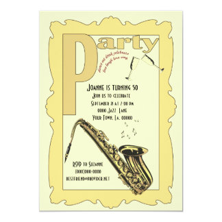Jazz Saxophone Party Invitation