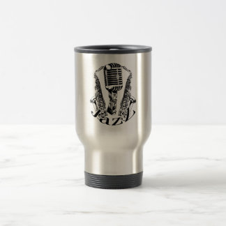 Jazz ~ Saxophone Sax Microphone Music Travel Mug