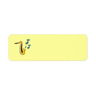 Jazz Saxophone with Notes Avery Label Return Address Label