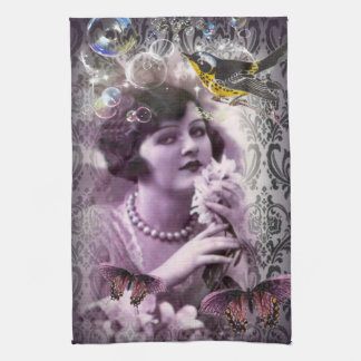 Jazz Vintage damask 1920s Lady Flapper Girl Paris Tea Towel