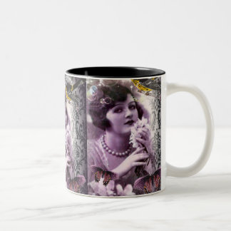 Jazz Vintage damask 1920s Lady Flapper Girl Paris Two-Tone Coffee Mug