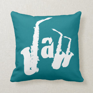 Jazz White Sax Choose your color background Pillow