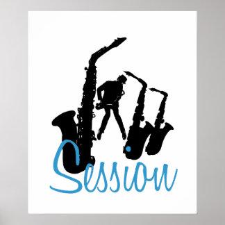 Jazzman Black Silhouette Jazz Session White Poster