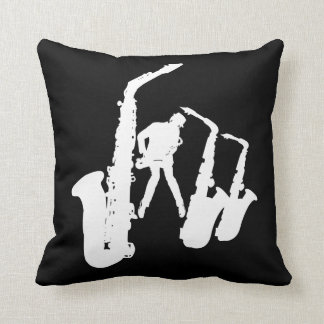 Jazzman White Silhouette Sax Jazz Black Pillow