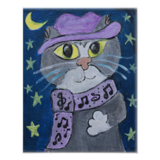 Jazzy Cat Folk Art Poster
