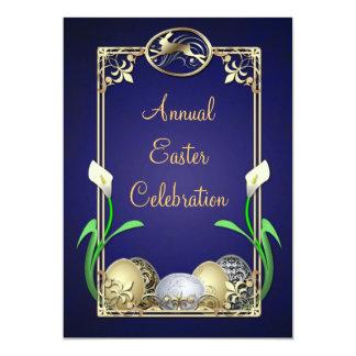 "Jazzy Dashing Bunny Blue Easter Invitations 5"" X 7"" Invitation Card"
