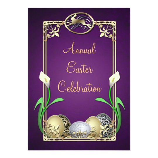 Jazzy Dashing Bunny Purple Easter Invitations