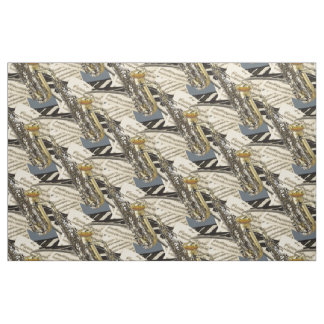 Jazzy Music Saxophone And Piano Keys Fabric