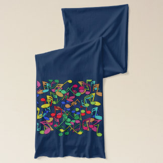 Jazzy Musical Notes on a Long Cotton Scarf