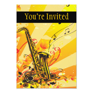 Jazzy Saxophone Beams Of Music Card
