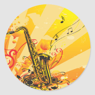 Jazzy Saxophone Beams Of Music Classic Round Sticker
