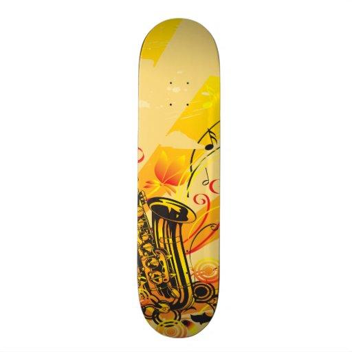 Jazzy Saxophone Beams Of Music Skate Board