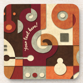 Jazzy Spiral Geometric Collage Drink Coaster