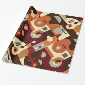 Jazzy Spiral Geometric Collage Wrapping Paper