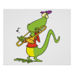jazzy trombone playing lizard cartoon poster