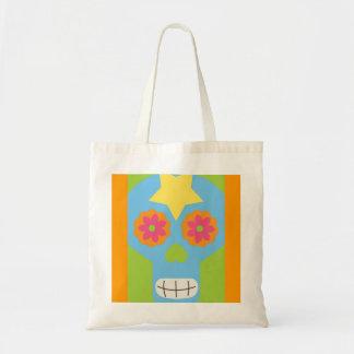 jc03 COLORFUL MEXICAN SKULL DECORATIVE CARTOON FLO Canvas Bags