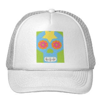 jc03 COLORFUL MEXICAN SKULL DECORATIVE CARTOON FLO Trucker Hats