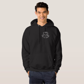 JCM Tattoo studio branded hoodie white logo