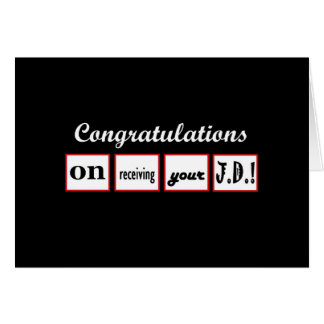 JD Degree - CUSTOM NAME Congratulations - Greeting Card