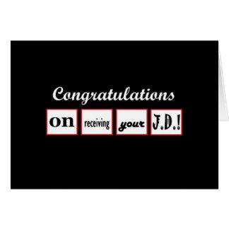 JD Degree - CUSTOM NAME Congratulations - Greeting Card