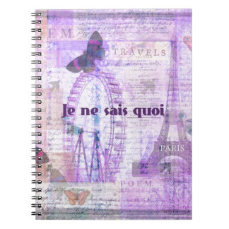 Je ne sais quoi  French Phrase - Paris Theme art Spiral Notebook