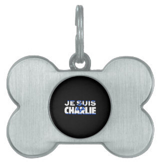 Je Suis Charlie-I Am Charlie-Israel Flag on Black Pet ID Tag