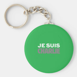 Je Suis Charlie-I Am Charlie-Magazine Cover Green Basic Round Button Key Ring