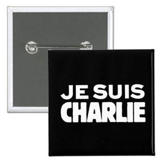 Je Suis Charlie-I am Charlie-White on Black 15 Cm Square Badge