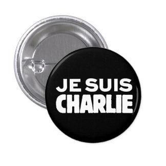 Je Suis Charlie-I am Charlie-White on Black Pinback Buttons