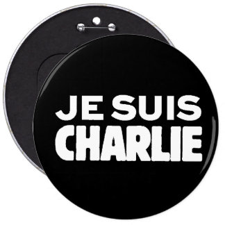 Je Suis Charlie-I am Charlie-White on Black Button