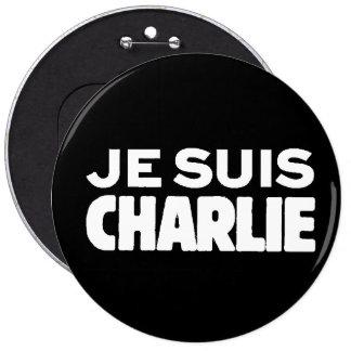 Je Suis Charlie-I am Charlie-White on Black Pinback Button