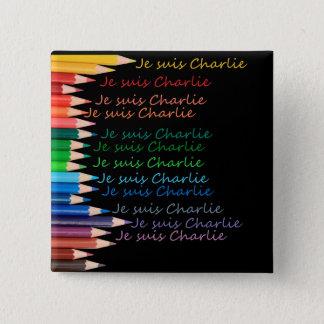 Je Suis Charlie rainbow pencils 15 Cm Square Badge