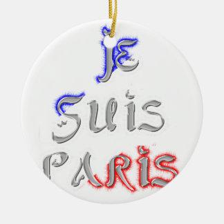 Je Suis Paris I love Paris Round Ceramic Decoration