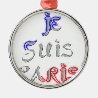 Je Suis Paris I love Paris Silver-Colored Round Decoration