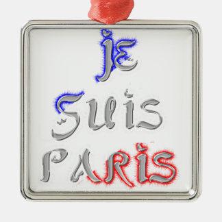 Je Suis Paris I love Paris Silver-Colored Square Decoration