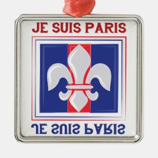 Je Suis Paris Silver-Colored Square Decoration