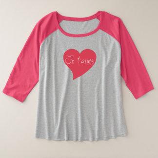 Je t'aime Pink Heart Plus-Size 3/4 Sleeve T-Shirt