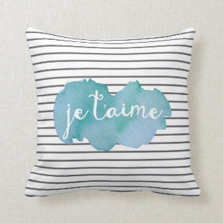 Je T'aime graphic watercolor pillow