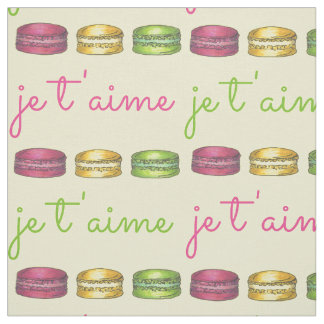 Je T'aime I Love You France French Macaron Fabric