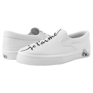 je t'aime - I love you in French - black Printed Shoes