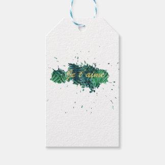 Je t'aime I love you tropical leaf Gift Tags