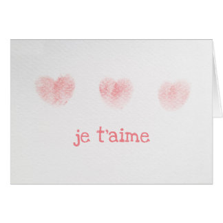 Je t'aime Note Card, French I Love You Card