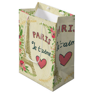 je t'aime,paris,vintage,eiffeltower,heart,flower,r medium gift bag