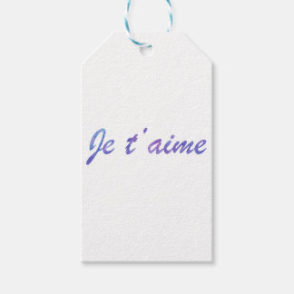 Je t'aime Water colour purple I love you Gift Tags