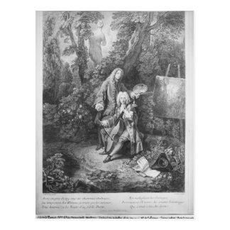 Jean Antoine Watteau and friend Monsieur Postcard