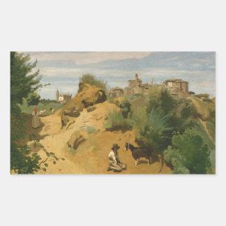 Jean-Baptiste-Camille Corot - Genzano Rectangular Sticker